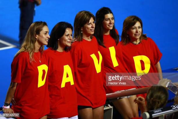 Fans of David Ferrer pose during the match between David Ferrer of Spain and Andrey Rublev of Russia as part of the Telcel Mexican Open 2018 at...