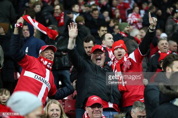 Fans of Denmark during the FIFA 2018 World Cup Qualifier PlayOff First Leg between Denmark and Republic of Ireland at Telia Parken on November 11...