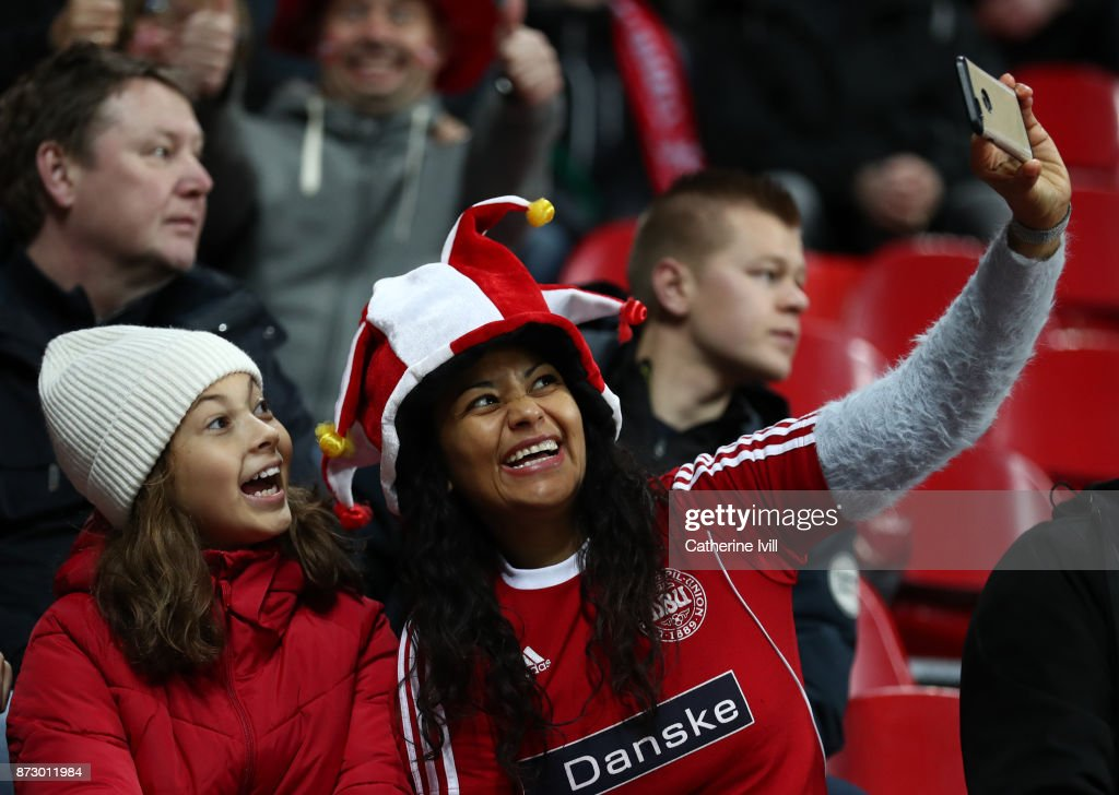 Fans of Denmark take a selfie photo during the FIFA 2018 World Cup Qualifier Play-Off: First Leg between Denmark and Republic of Ireland at Telia Parken on November 11, 2017 in Copenhagen, Denmark.