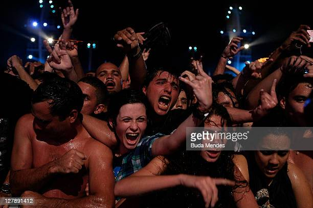 Fans of Detonautas during a concert in the Rock in Rio Festival on October 02 2011 in Rio de Janeiro Brazil Rock in Rio Festival comes back to Brazil...