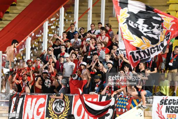 Fans of Dijon during the Ligue 1 match between As Monaco and Dijon FCO at Louis II Stadium on April 15 2017 in Monaco Monaco