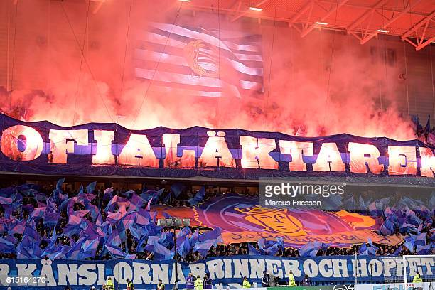 Fans of Djurgardens IF during the allsvenskan match between Hammarby IF and Djurgardens IF at Tele2 Arena on October 17 2016 in Stockholm Sweden