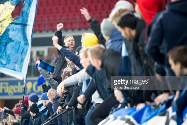 Fans of Djurgardens IF during the allsvenskan match between Kalmar FF and Djurgarden IF at Guldfageln Arena on November 5 2017 in Kalmar Sweden