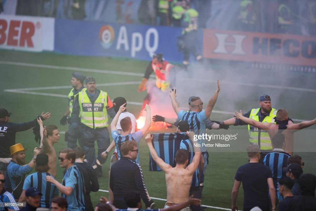 Fans of Djurgardens IF making gestures toward fans of Malmo FF during the Swedish Cup Final between Djurgardens IF and Malmo FF at Tele2 Arena on May 10, 2018 in Stockholm, Sweden.