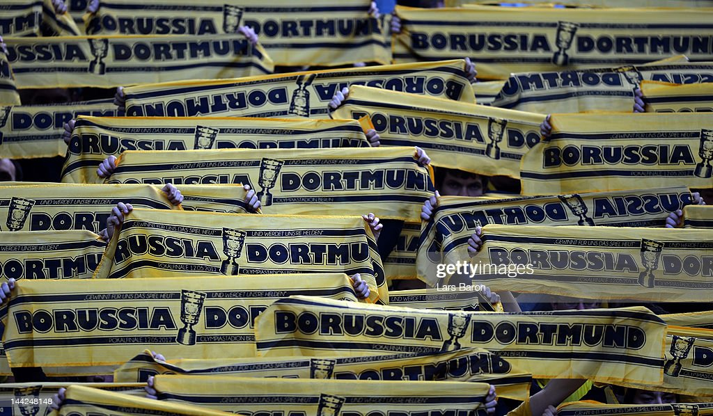 Fans of Dortmund are seen prior to the DFB Cup final match between Borussia Dortmund and FC Bayern Muenchen at Olympic Stadium on May 12, 2012 in Berlin, Germany.