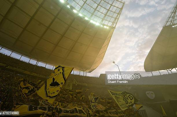 Fans of Dortmund are seen prior to the DFB Cup Final match between Borussia Dortmund and VfL Wolfsburg at Olympiastadion on May 30 2015 in Berlin...