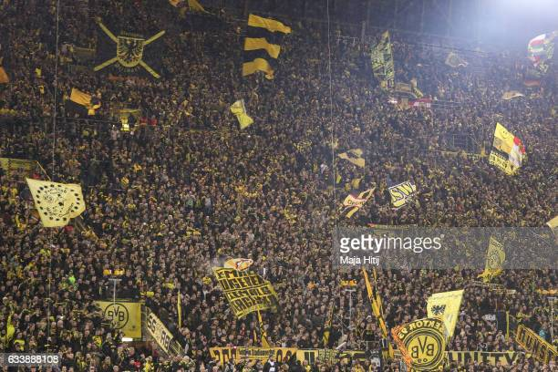 Fans of Dortmund prior the Bundesliga match between Borussia Dortmund and RB Leipzig at Signal Iduna Park on February 4 2017 in Dortmund Germany