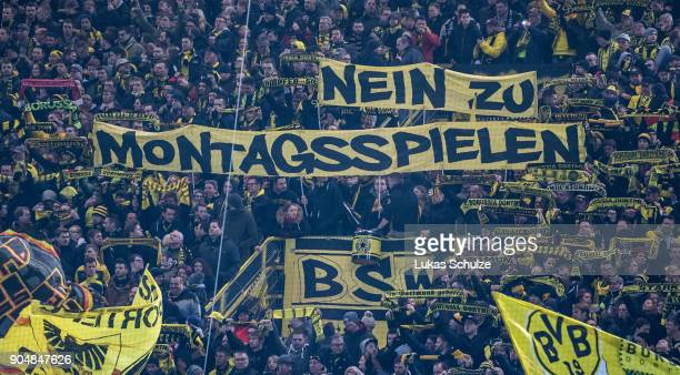 Fans of Dortmund protest against matches on a monday prior to the Bundesliga match between Borussia Dortmund and VfL Wolfsburg at Signal Iduna Park...