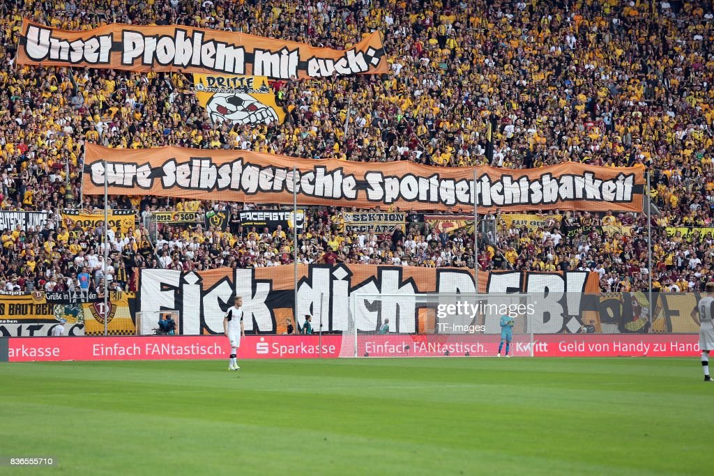 Fans of Dresden with a banner during the Second Bundesliga match between Dynamo Dresden and SV Sandhausen at DDV-Stadion on August 19, 2017 in Dresden, Germany.