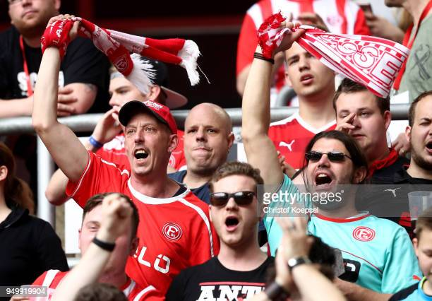 Fans of Duesseldorf celebrate during the Second Bundesliga match between Fortuna Duesseldorf and FC Ingolstadt 04 at EspritArena on April 22 2018 in...