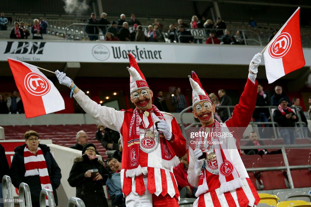 Fans of Duesseldorf in carnival costume are seen prior to the Second Bundesliga match between Fortuna Duesseldorf and SV Sandhausen at Esprit-Arena on February 2, 2018 in Duesseldorf, Germany.