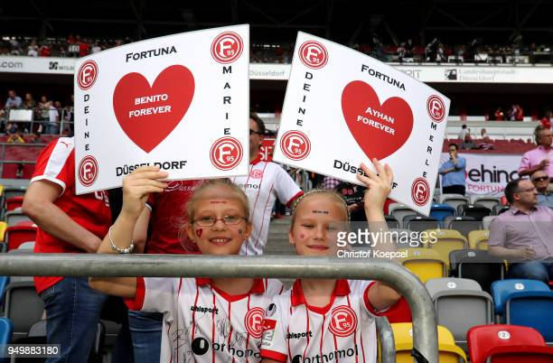 Fans of Duesseldorf pose prior to the Second Bundesliga match between Fortuna Duesseldorf and FC Ingolstadt 04 at EspritArena on April 22 2018 in...