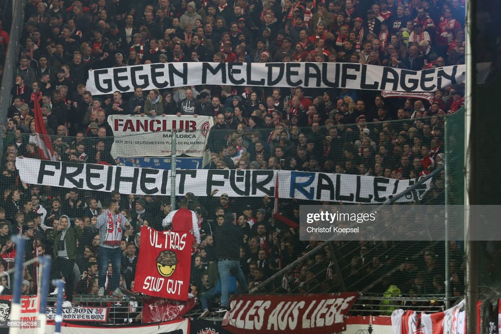 fans of Duesseldorf show a banner during the Second Bundesliga match between VfL Bochum 1848 and Fortuna Duesseldorf at Vonovia Ruhrstadion on October 30, 2017 in Bochum, Germany.