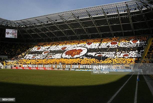 Fans of Dynamo Dresden during the 3. Liga match between Dynamo Dresden and Rot Weiss Erfurt at the Rudolf Harbig Stadium on February 20, 2010 in...