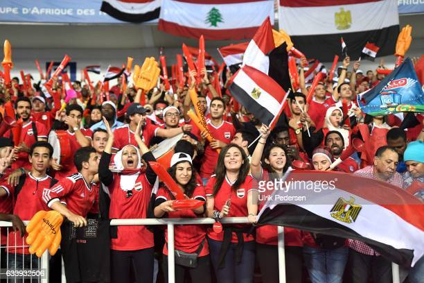 Fans of Egypt during the African Nations Cup Final match between Cameroon and Egypt at Stade de L'Amitie on February 5 2017 in Libreville Gabon