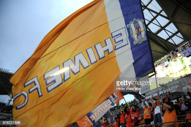 Fans of Ehime FC cheer prior to the JLeague J2 match between JEF United Chiba and Ehime FC at Fukuda Denshi Arena on June 16 2018 in Chiba Japan