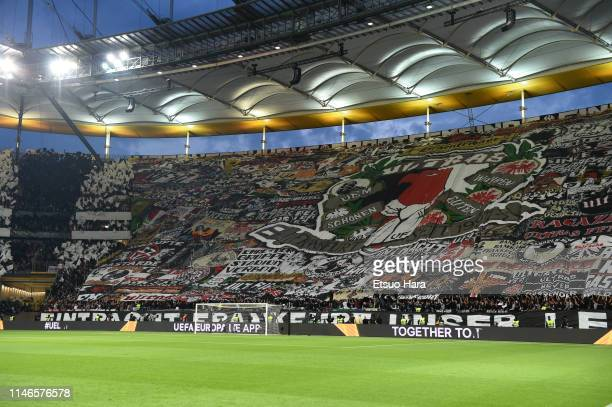 Fans of Eintracht Frankfurt cheer prior to the UEFA Europa League Semi Final First Leg match between Eintracht Frankfurt and Chelsea at...