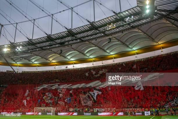 Fans of Eintracht Frankfurt prior to the Eintracht Frankfurt against FC Vaduz match of UEFA Europa League Third Qualifying Round at Commerzbank Arena...