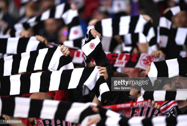 Fans of Eintracht Frankfurt show their support during the UEFA Europa League group F match between Eintracht Frankfurt and Standard Liege at on...