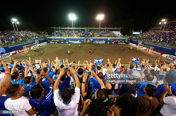 Fans of El Salvador cheer for their team during day five of the CONCACAF Beach Soccer Championships El Salvador 2015 match between El Salvador and...