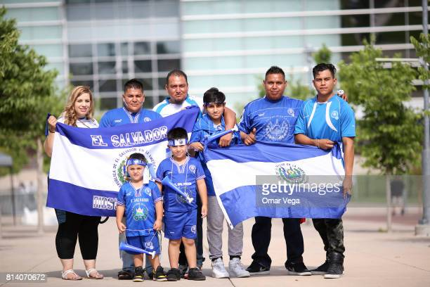 Fans of El Salvador pose with flags to cheer their team prior to a Group C match between Mexico and Jamaica as part of CONCACAF Gold Cup 2017 at...