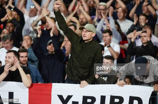 Fans of England celebrates after wins over Bulgaria, during the UEFA EURO 2020 Qualifications Bulgaria v England at Vasil Levski National Stadium,...