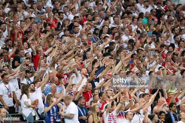 Fans of England cheer during the 2018 FIFA World Cup Russia Semi Final match between England and Croatia at Luzhniki Stadium on July 11 2018 in...
