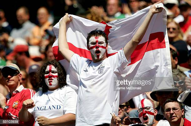 Fans of England cheer during the Churchill Cup match between England and Canada on June 19 2005 at the Commonwealth Stadium in Edmonton Canada
