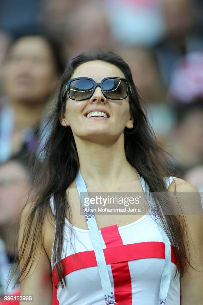 Fans of England looks on during the 2018 FIFA World Cup Russia Semi Final match between England and Croatia at Luzhniki Stadium on July 11 2018 in...