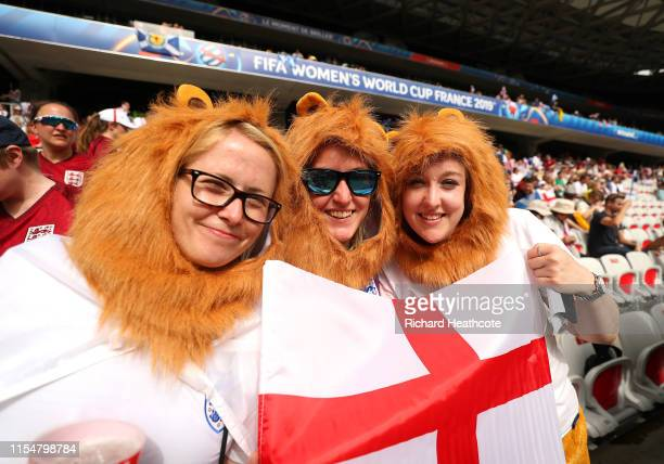 Fans of England show their support prior to the 2019 FIFA Women's World Cup France group D match between England and Scotland at Stade de Nice on...