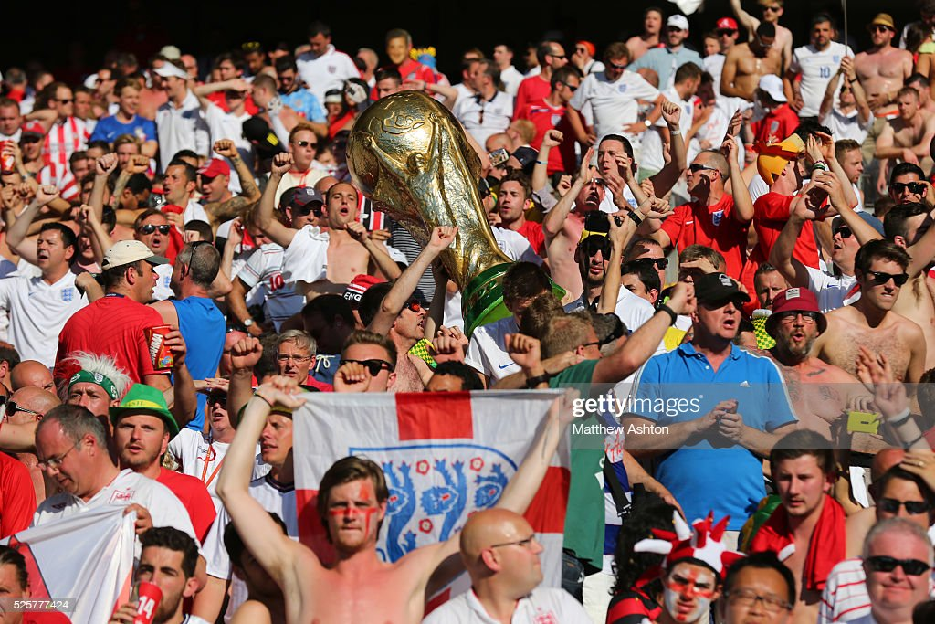 Fans of England with a giant replica world cup trophy