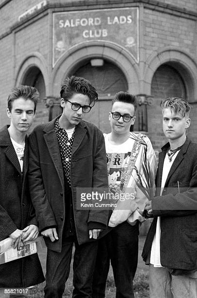 Fans of English pop group The Smiths pose outside Salford Lads Club in Ordsall Salford Greater Manchester during a Smiths convention in the city 28th...