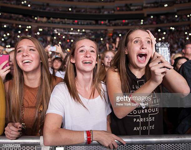 Fans of EnglishIrish boy band One Direction performs at Madison Square Garden Monday December 3 2012