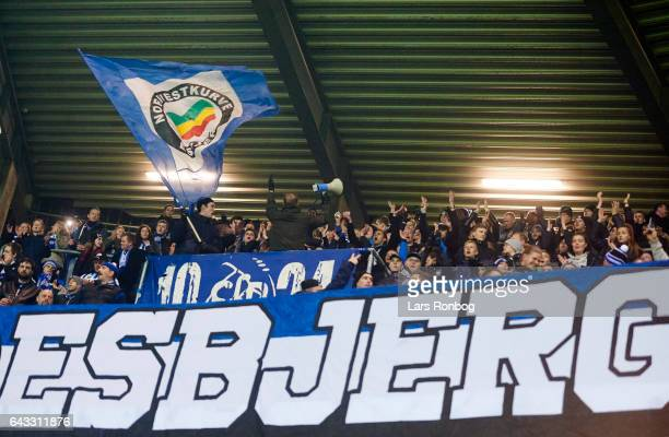 Fans of Esbjerg fB cheer prior to the Danish Alka Superliga match between Esbjerg fB and Sonderjyske at Blue Water Arena on February 17 2017 in...