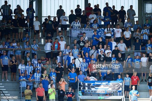 Fans of Esbjerg fB during the Danish Superliga match between Esbjerg fB and Vendsyssel FF at Blue Water Arena on July 21 2018 in Esbjerg Denmark