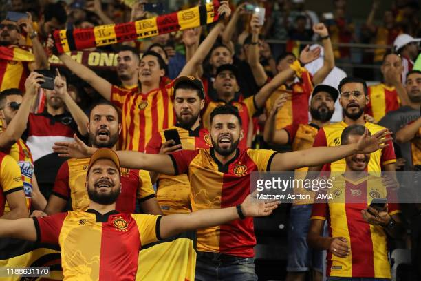 Fans of Esperance Sportive de Tunis cheer their side on during the FIFA Club World Cup 2nd round match between Al Hilal and Esperance Sportive de...