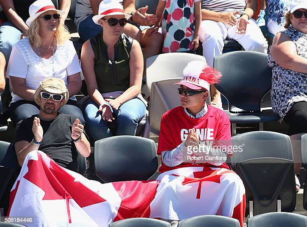Fans of Eugenie Bouchard of Canada cheer during the singles finals match againsts Alizé Cornet of France during the 2016 Hobart International at the...
