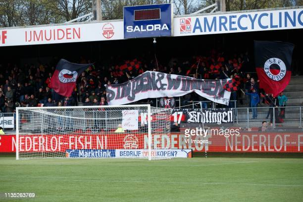 Fans of Excelsior with banner Strijden en Winnen during the Dutch Eredivisie match between sbv Excelsior Rotterdam and NAC Breda at Van Donge & De...