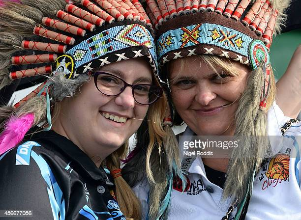 Fans of Exeter Chiefs arrive ahead of the Aviva Premiership match between Newcastle Falcons and Exeter Chiefs at Kingston Park on October 5 2014 in...