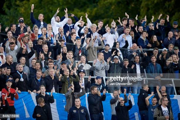 Fans of FC Copenhagen celebrate after the Danish Alka Superliga match between FC Helsingor and FC Copenhagen at Helsingor Stadion on September 17...