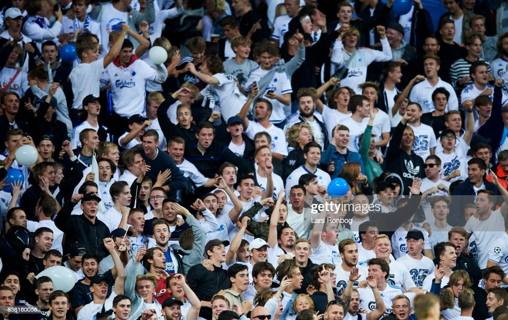 Fans of FC Copenhagen cheer prior to the UEFA Champions League Playoff 2nd Leg match between FC Copenhagen and Qarabag FK at Telia Parken Stadium on August 23, 2017 in Copenhagen, Denmark.