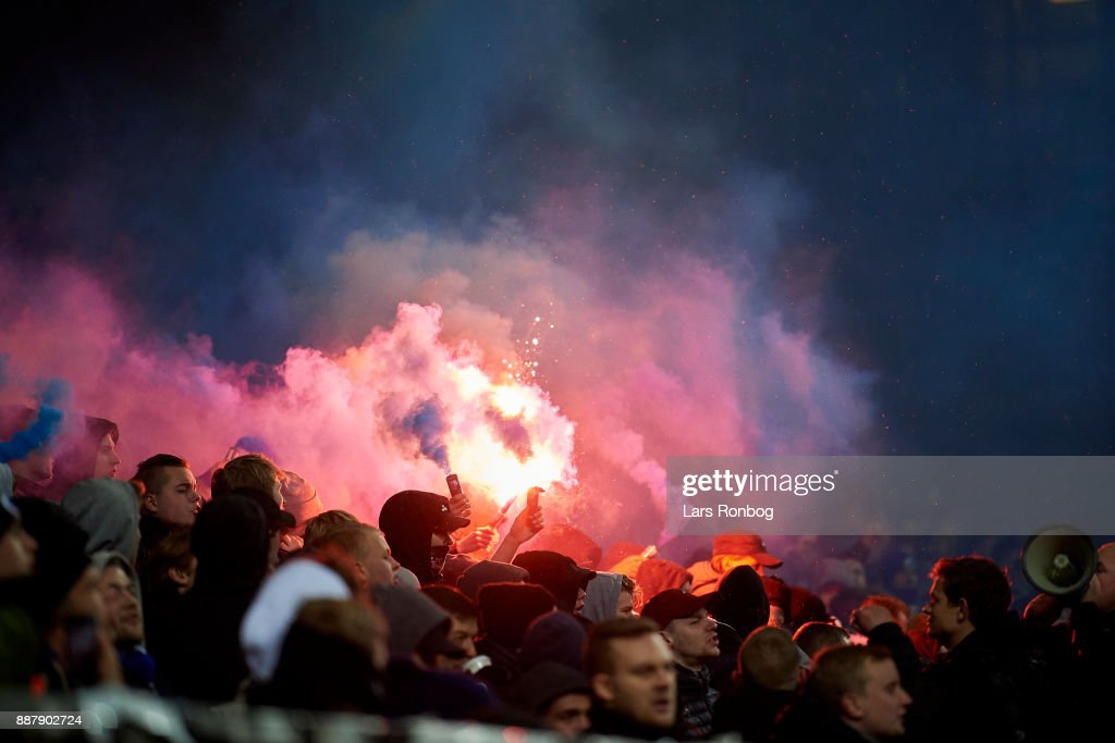 Fans of FC Copenhagen cheer with pyrotechnics after the UEFA Europa League match between FC Copenhagen and FC Sheriff at Telia Parken Stadium on December 7, 2017 in Copenhagen, Denmark.