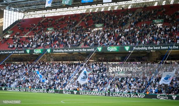 Fans of FC Copenhagen doing tifo prior to the Danish Superliga match between FC Copenhagen and SonderjyskE at Telia Parken Stadium on August 26 2018...