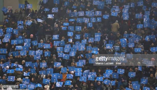 Fans of FC Internazionale cheer their team during the Serie A match between FC Internazionale and SSC Napoli at Stadio Giuseppe Meazza on December 26...