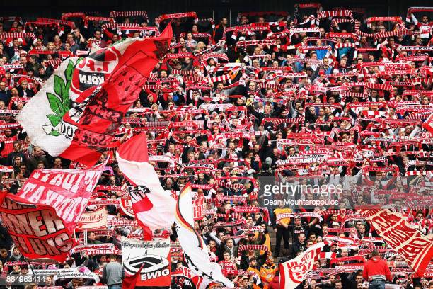 fans of FC Koeln show their support during the Bundesliga match between 1 FC Koeln and SV Werder Bremen held at RheinEnergieStadion on October 22...