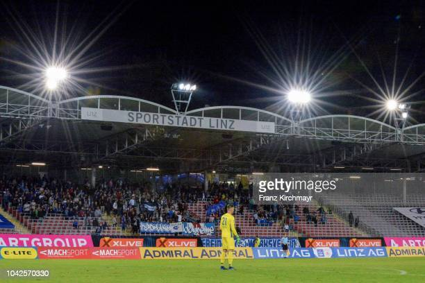 Fans of FC Linz during the 2 Liga match between FC Blau Weiss Linz v FC Liefering at TGW Arena on September 28 2018 in Pasching Austria