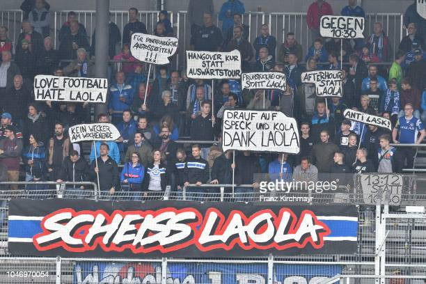 Fans of FC Linz during the 2 Liga match between FC Juniors OOe v FC Blau Weiss Linz at TGW Arena on October 7 2018 in Pasching Austria