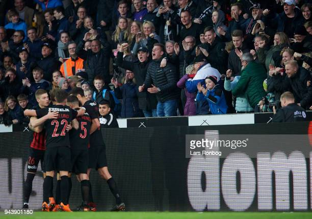 Fans of FC Midtjylland celebrating after the 22 goal scored by Erik Sviatchenko of FC Midtjylland during the Danish Alka Superliga match between FC...