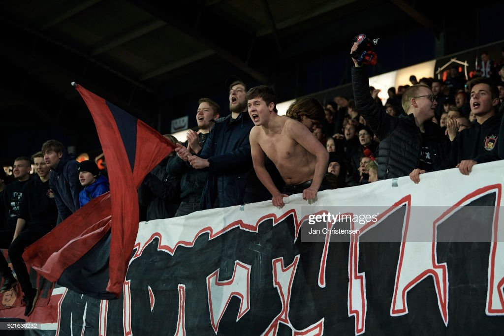 Fans of FC Midtjylland celebrating after the Danish Alka Superliga match between FC Midtjylland and FC Copenhagen at MCH Arena on February 18, 2018 in Herning Denmark.