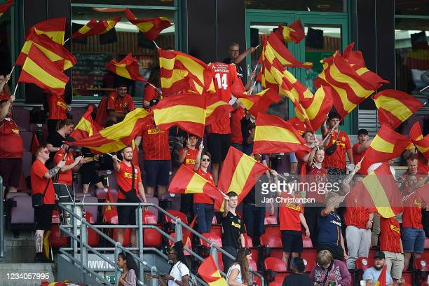 Fans of FC Nordsjalland cheering at the stands prior to the Danish 3F Superliga match between FC Nordsjalland and Viborg FF at Right to Dream Park on...